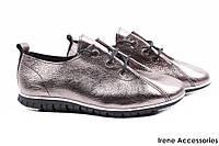 Стильные туфли женские Guero натуральная кожа цвет серебро (модельные, платформа, спортивный стиль, Турция)