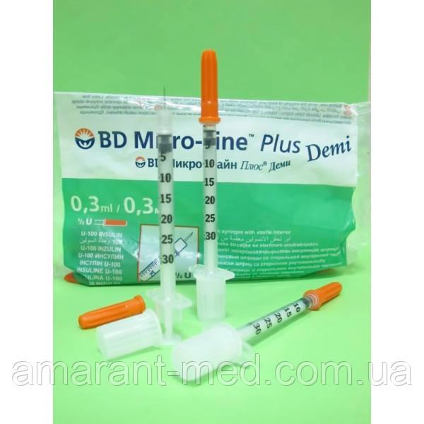 Шприц BD Micro Fine DEMI 0,3 мл. 10 шт.