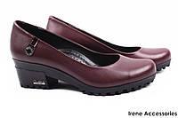 Модные туфли женские Guero натуральная кожа цвет бордо (модельные, каблук, Турция)