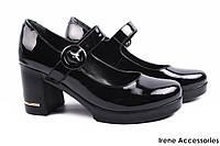 Стильные туфли женские Guero с ремешком натуральная лаковая кожа цвет черный (модельные, каблук, Турция)