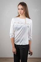 Блузка с кружевом из шелка,  молочный цвет.