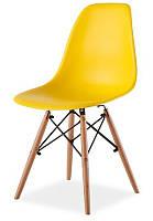 Стул Тауэр Вуд пластиковый на деревянных ножках, желтый SDMPC16WYEL 54*46,5*80,5, высота сиденья 42 см