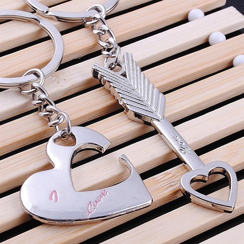 Двойной брелок для ключей Сердце и стрела
