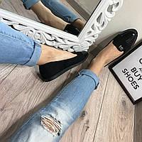 Балетки с бантиком, комбинация эко-замш и эко-лак,,женские туфли весенние без каблука