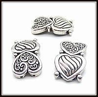 """Разделитель на 2 нити """"Сердца"""" серебро (1,9х3,4 см) 2 шт в уп."""