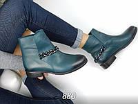 Женские ботинки весна, натуральная кожа люкс, зеленые / ботинки  женские 2017,  низкие 12.5 см,  модные