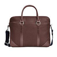 Кожаная мужская сумка Issa Hara B14 коричневая шоколад