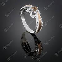 Серебряное кольцо с раухтопазом и фианитами. Артикул П-371