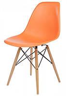 Стул Тауэр Вуд пластиковый на деревянных ножках, оранжевый SDMРС016WOR 54*46,5*80,5, высота сиденья 42 см