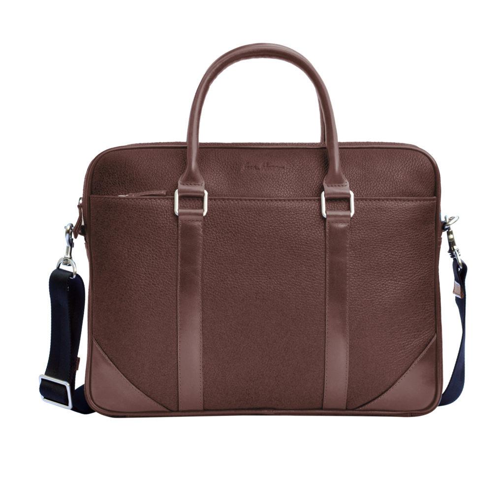 Кожаный мужской портфель Issa Hara B14 коричневый шоколад