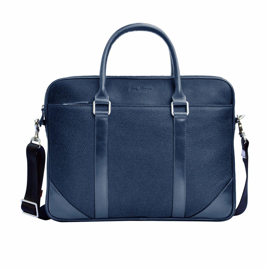 Кожаный мужской портфель Issa Hara B14 синий