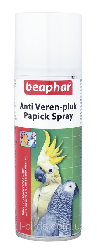 Beaphar Papick Spray — Спрей для предотвращения выдергивания перьев.