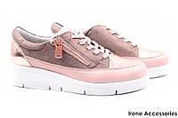 Стильные кроссовки Snipe женские натуральная кожа цвет розовый (мокасины, шнуровка, Турция)
