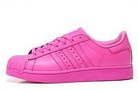 Женские кроссовки  Adidas Superstar Supercolor PW Semi Solar Pin (Адидас Суперстар Суперкол) розовые