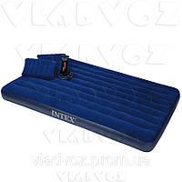 Двухместный надувной матрас Intex 64765/68765 + ручной насос и 2 подушки