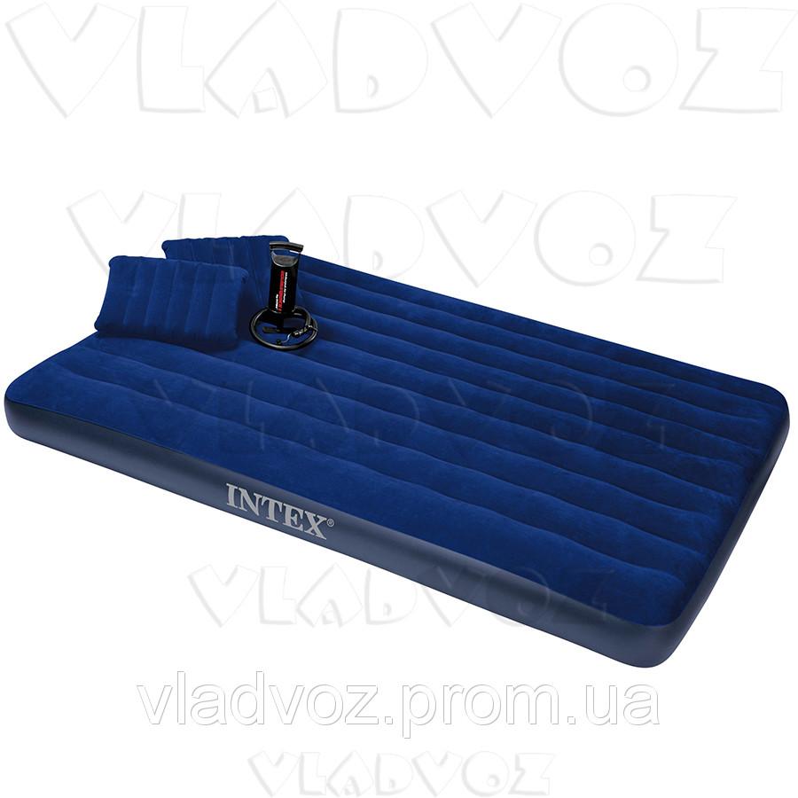 Двухместный надувной матрас Intex 68765 + ручной насос и 2 подушки