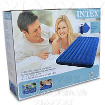 Двухместный надувной матрас Intex 68765 + ручной насос и 2 подушки, фото 3