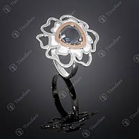 Серебряное кольцо с черным цирконом. Артикул П-374