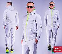 Мужской спортивный костюм 7 серый+салатовая молния