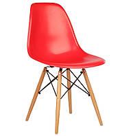 Стул Тауэр Вуд пластиковый на деревянных ножках, красный SDMPC018WR 54*46,5*80,5, высота сиденья 42 см