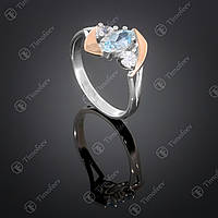 Серебряное кольцо с топазом и фианитами. Артикул П-375
