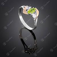 Серебряное кольцо с хризолитом и фианитами. Артикул П-375