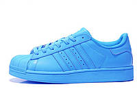 Женские кроссовки Adidas Superstar Supercolor PW Sharp Blue (Адидас Суперстар Суперколор) голубые
