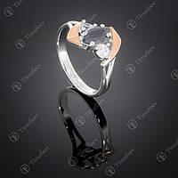 Серебряное кольцо с черным цирконом. Артикул П-375