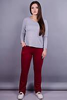 Барса. Женские спортивные штаны больших размеров. Бордо.