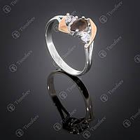 Серебряное кольцо с раухтопазом и фианитами. Артикул П-375