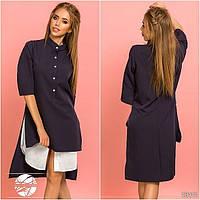 Женское асимметричное платье-рубашка темно-синего цвета с рукавом 3/4. Модель 13111.