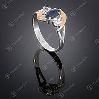 Серебряное кольцо с сапфиром и фианитами. Артикул П-375