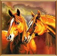 Набор для вышивания нитками на канвес фоновым рисунком «Верность сердец» 3067СВ