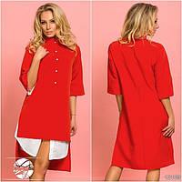Женское асимметричное платье-рубашка красного цвета с рукавом 3/4. Модель 13109.
