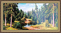 Картина Лесной пейзаж 500х1000мм №320 в багетной раме