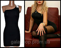 Мини платье на одно плечо, секси наряд, платье - чулок. Разные цвета. Размеры 42-52.