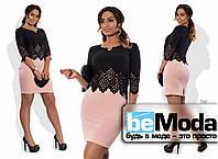 Красивое женское батальное платье с имитацией блузы и юбки розовое