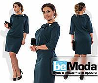 Нарядное женское платье большого размера с оригинальным воротником и брошью в комплекте черное