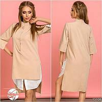 Женское асимметричное платье-рубашка бежевого цвета с рукавом 3/4. Модель 13108.