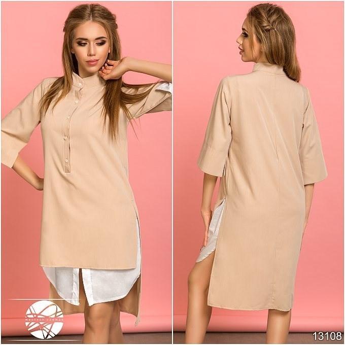 8fe9db8df29 Женское асимметричное платье-рубашка бежевого цвета с рукавом 3 4. Модель  13108.
