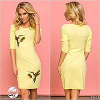 Женское весеннее платье желтого цвета с рукавом 3/4. Модель 13101.