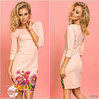 Женское весеннее платье розового цвета с цветочным принтом. Модель 13110.