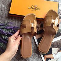 Женские шлепки кожа Hermes WOMAN летняя обувь кожа Кожаная обувь Женская обувь