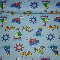 Ситец с корабликами, штурвалами и якорями на голубом фоне, ширина 95 см, фото 1
