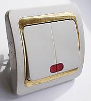 Выключатель 2-й с подсветкой типа Makel золото