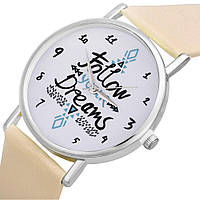 Женские часы Follow your dreams (бежевые)