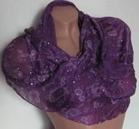 Шарф для женщин с блестками. Фиолетовый 120х55