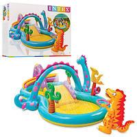 """Дитячий надувний ігровий центр Intex 57135. """"Планета динозаврів"""", з гіркою, душем, м'ячиками та іграшок."""