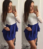 Женское платье с гипюровым верхом и баской - 5 цветов