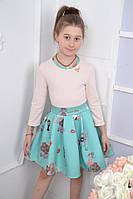 Модное платье для девочки с фатиновым подъюбником, 122-146 см. Детское платье весна 2017 !